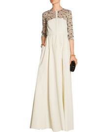 Lace-paneled poplin gown
