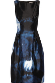 Printed silk-satin dress