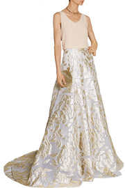 Metallic fil coupé maxi skirt