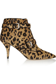 Fitz leopard-print calf hair ankle boots