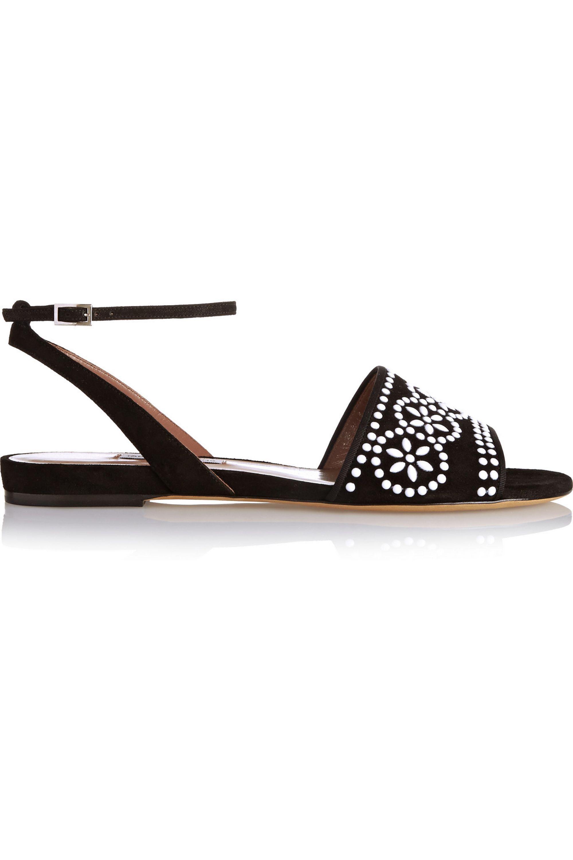 Tabitha Simmons Petal embellished suede sandals
