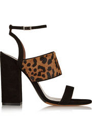 Stevie leopard-print calf hair and suede sandals