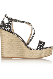 Jenny printed satin espadrille wedge sandals