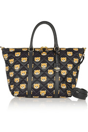 Moschino Leather-trimmed printed quilted shell shoulder bag
