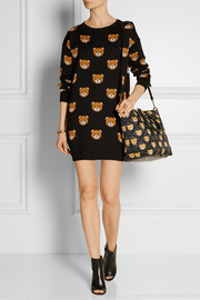 Leather-trimmed printed quilted shell shoulder bag