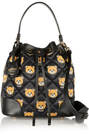 Leather-trimmed printed quilted shell bucket bag