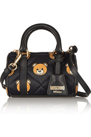 Moschino Leather-trimmed mini printed quilted shell shoulder bag