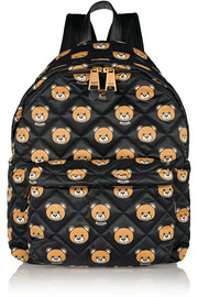 Leather-trimmed printed quilted shell backpack
