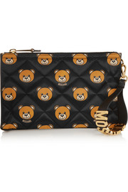 Moschino Leather-trimmed printed quilted shell clutch