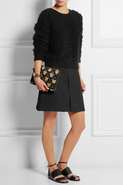 Leather-trimmed printed quilted shell clutch
