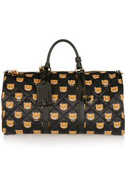 Leather-trimmed printed quilted shell weekend bag