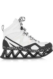Ninja rubberized-leather platform sneakers