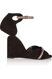 Amanda suede and metallic leather sandals
