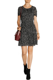 Leopard-print silk-gauze mini dress