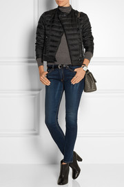 Leather-trimmed quilted shell down jacket