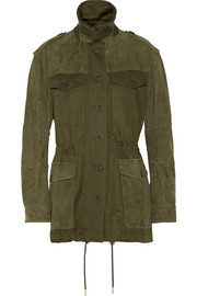 Nubuck-paneled cotton and linen-blend canvas coat