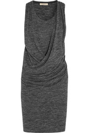 Draped mélange jersey dress
