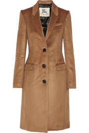 Leather-trimmed llama hair and wool-blend coat