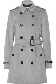 Leather-trimmed wool and cashmere-blend trench coat