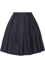 Pleated wool and silk-blend mini skirt