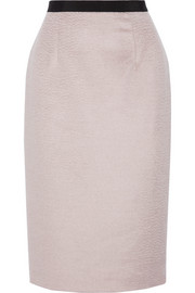 Grosgrain-trimmed llama hair and wool-blend pencil skirt