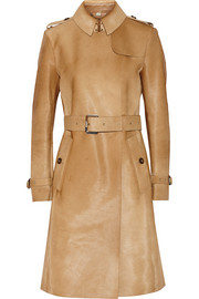 Calf hair trench coat