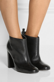 Textured-leather ankle boots