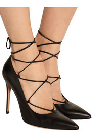 Lace-up leather pumps