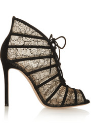 Gianvito Rossi Suede-trimmed Chantilly lace boots