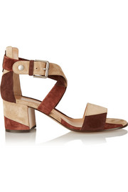Patchwork suede sandals