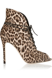 Lace-up leopard-print calf hair ankle boots