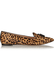 Leopard-print calf hair point-toe flats