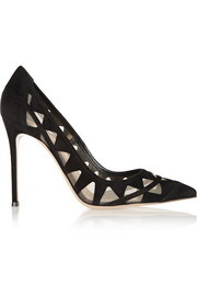 Mesh-paneled suede pumps