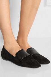 Leather-paneled suede loafers