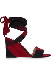 Patchwork suede wedge sandals