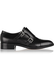 Monk-strap leather loafers