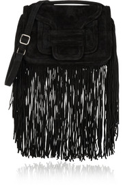 Alpha fringed suede shoulder bag