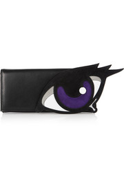 Oh Roy appliquéd suede and leather clutch