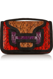 Alpha color-blocked elaphe and suede clutch
