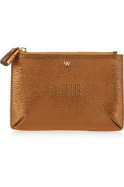 Mrs metallic textured-leather pouch