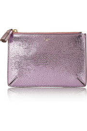 Miss metallic textured-leather pouch