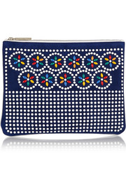 Embellished suede and leather pouch