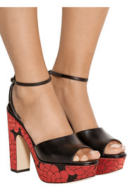 Horatio leather and jacquard platform sandals