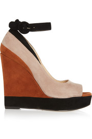 Whitney color-block suede wedge sandals