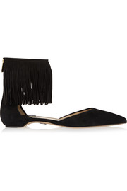 Espanola fringed suede point-toe flats