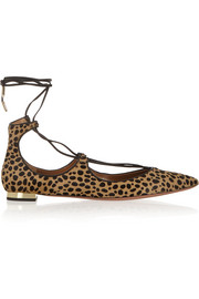Christy leopard-print calf hair point-toe flats