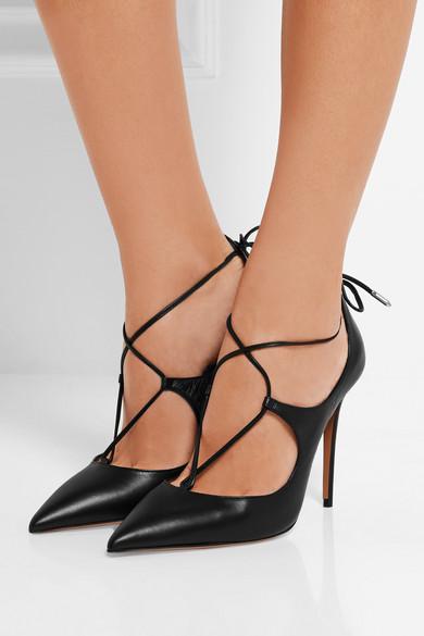 Aquazzura | Christy lace-up leather pumps | NET-A-PORTER.COM