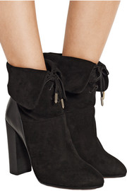 Cambridge leather-paneled suede ankle boots