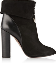 Aquazzura Cambridge leather-paneled suede ankle boots