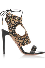 Rebel Studs leopard-print calf hair and leather sandals